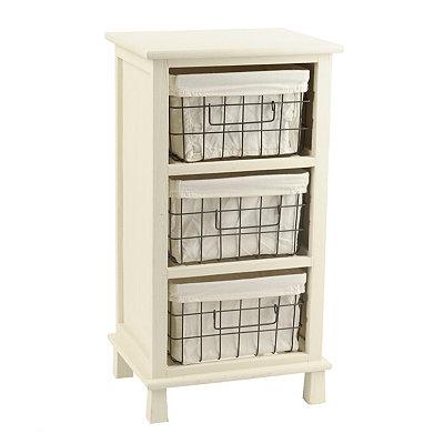 Cream 3-Drawer Storage Basket Cabinet