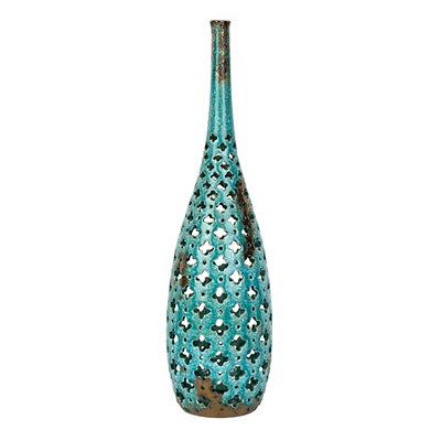 Pierced Turquoise Ceramic Floor Vase