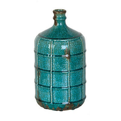 Speckled Turquoise Grid Vase, 12 in.