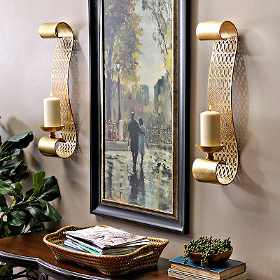 Gold Dillion Sconces, Set of 2