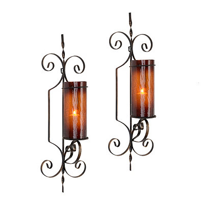 Chocolate Mercury Glass Hampton Sconces, Set of 2