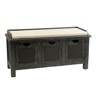Weathered Gray Chalkboard 3-Drawer Storage Bench