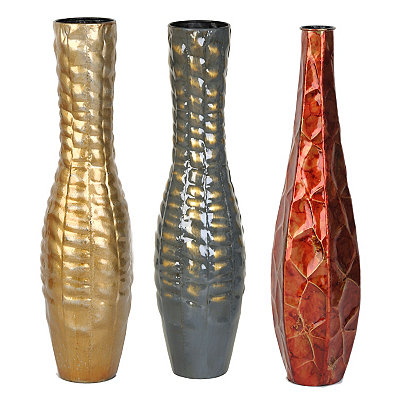 Embossed Metal Vases