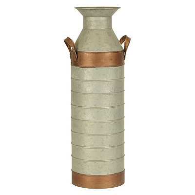 Copper and Galvanized Metal Vase, 25 in.
