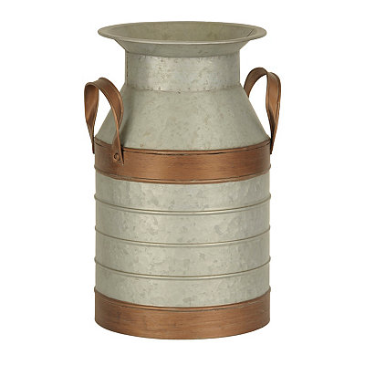 Copper and Galvanized Metal Vase, 14.5 in.