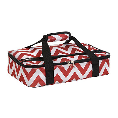 Red Chevron Insulated Casserole Carrier