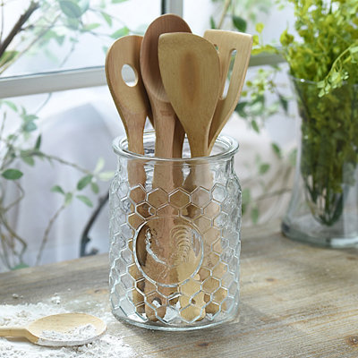 Glass Rooster Utensil Holder