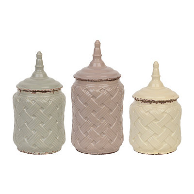 Woven Ceramic Canisters, Set of 3