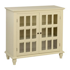 Antique Cream Window Pane Cabinet