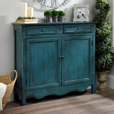 Vintage Turquoise 2-Door Cabinet