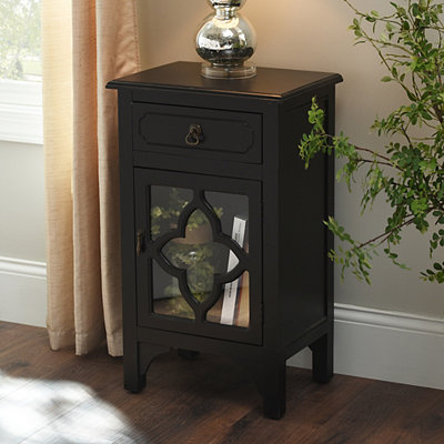 Black Quatrefoil Side Table