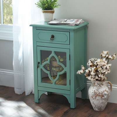 Turquoise Quatrefoil Side Table