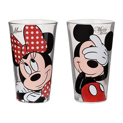 Glitter Mickey and Minnie Glasses, Set of 2