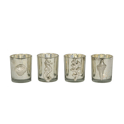 Silver Aegean Glass Votive Holders, Set of 4