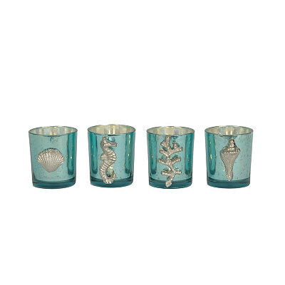 Turquoise Aegean Glass Votive Holders, Set of 4