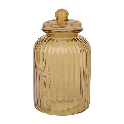 Large Amber Ribbed Glass Canister