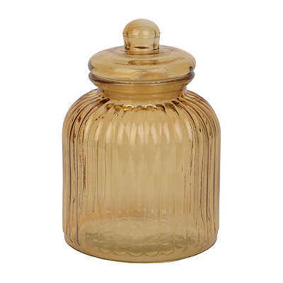 Medium Amber Ribbed Glass Canister