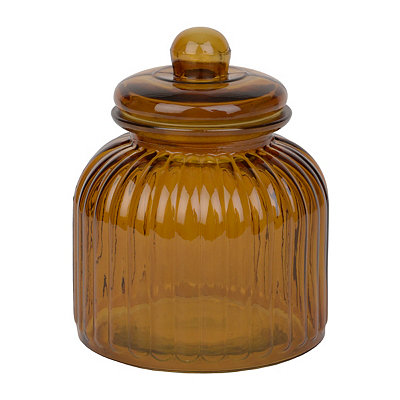 Small Amber Ribbed Glass Canister