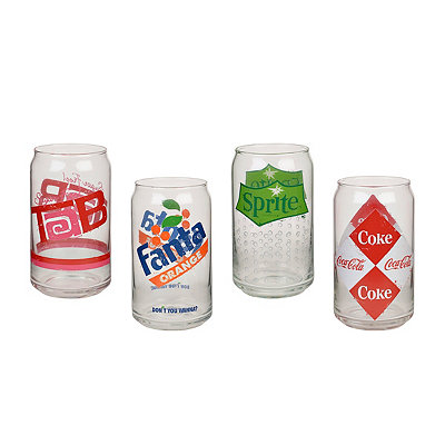 Vintage Soda Can Glasses, Set of 4