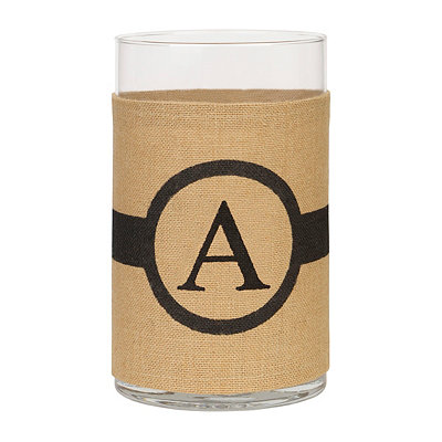 Burlap-Wrapped Monogram A Vase
