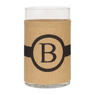 Burlap-Wrapped Monogram B Vase