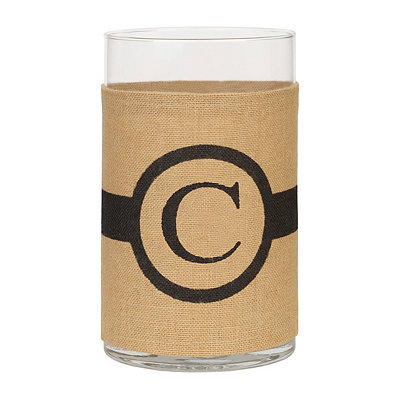 Burlap-Wrapped Monogram C Vase