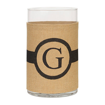 Burlap-Wrapped Monogram G Vase