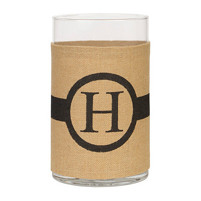 Burlap-Wrapped Monogram H Vase
