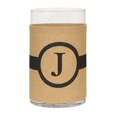 Burlap-Wrapped Monogram J Vase