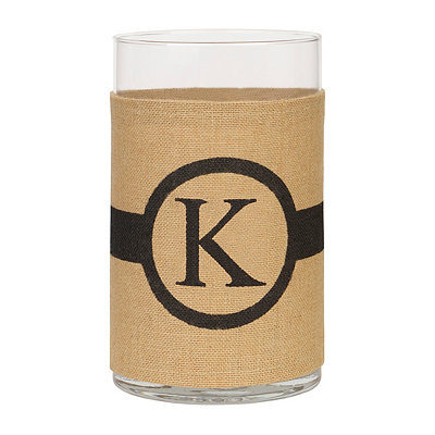 Burlap-Wrapped Monogram K Vase