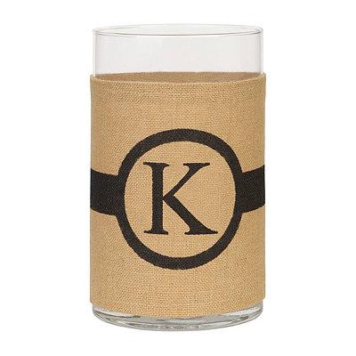 Burlap-Wrapped Monogram K Vase