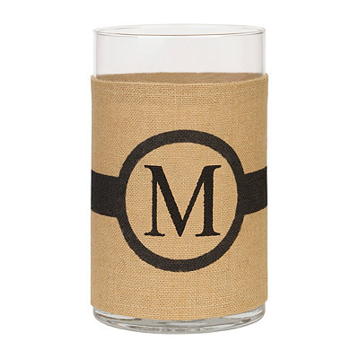 Burlap-Wrapped Monogram M Vase