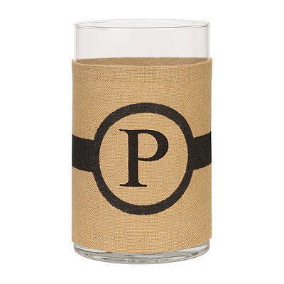 Burlap-Wrapped Monogram P Vase
