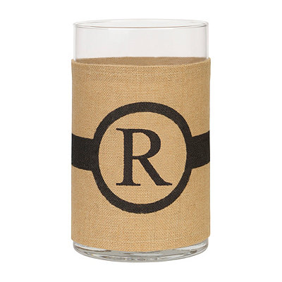 Burlap-Wrapped Monogram R Vase