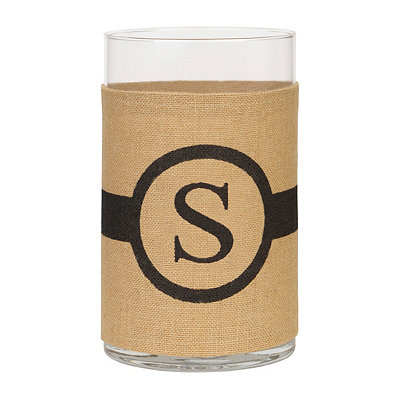 Burlap-Wrapped Monogram S Vase