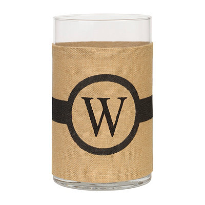 Burlap-Wrapped Monogram W Vase