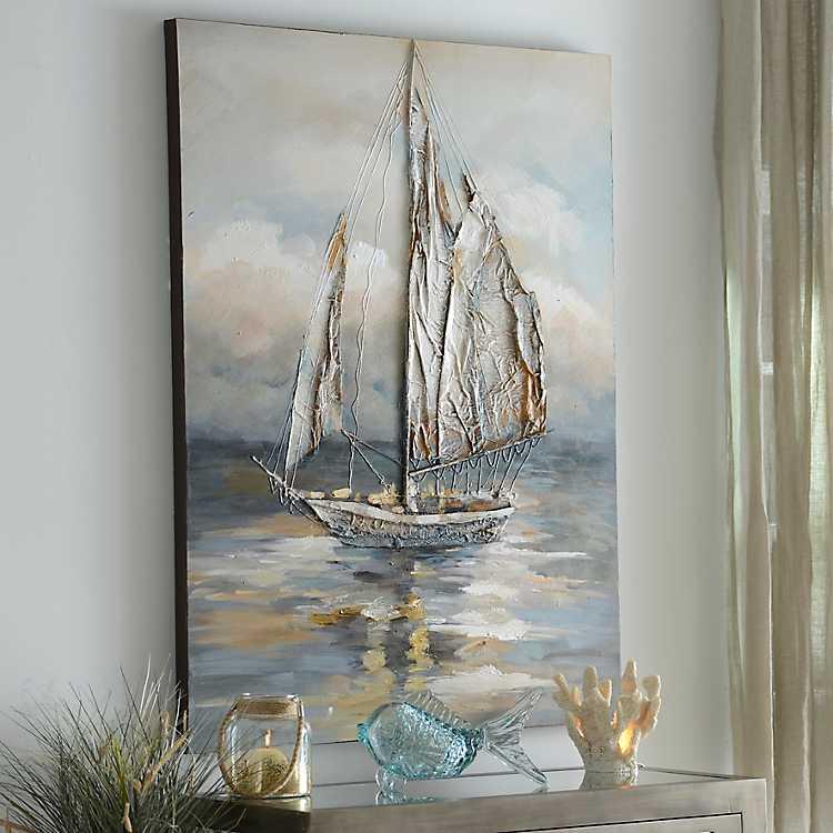 Cloud Window Curtains 3d Printing Nautical Home Decor: Moonlight Voyage Canvas Art
