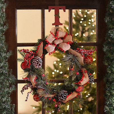 Rustic Flocked Ornament Pine Wreath
