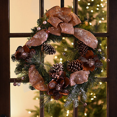 Glittered Magnolia Pine Wreath