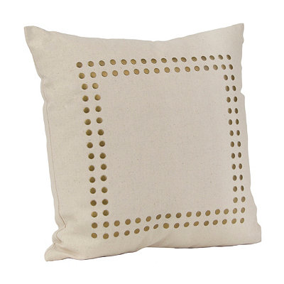 Jessica Ivory and Gold Stud Pillow