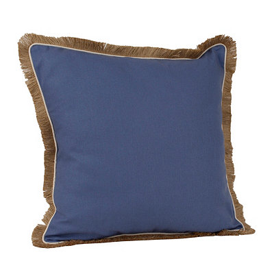 Langdon Blue Jute-Trimmed Pillow