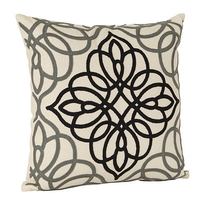Black Embroidered Medallion Pillow