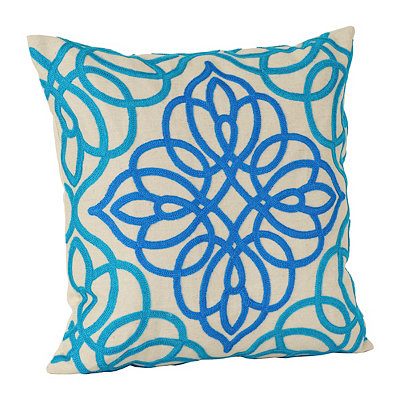 Turquoise Embroidered Medallion Pillow
