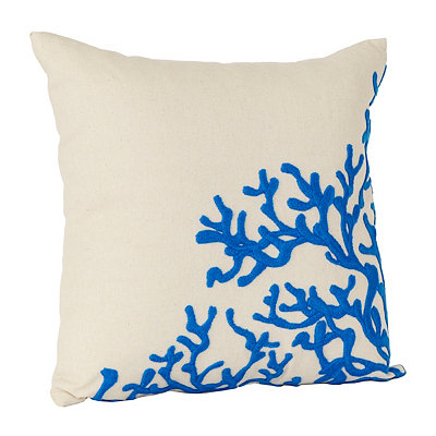 Blue Embroidered Coral Pillow