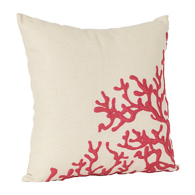 Red Embroidered Coral Pillow
