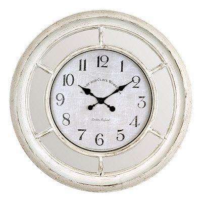 Brushed Ivory Mirrored Clock