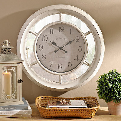 Brushed Ivory Mirrored Clock