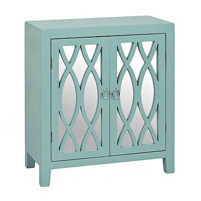 Aqua Mirrored Geometric Cabinet