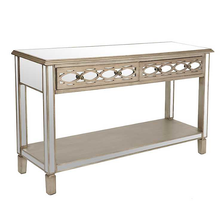 Champagne mirrored console table kirklands for Sofa table kirklands