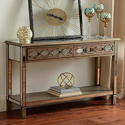 Champagne Mirrored Console Table